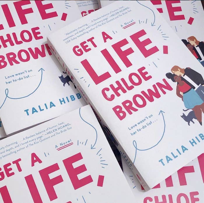 multiple copies of Get A Life Chloe Brown by Talia Hibbert in a pile it also says love wasn't on her to-do list