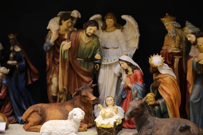 A close-up of a plastic nativity scene