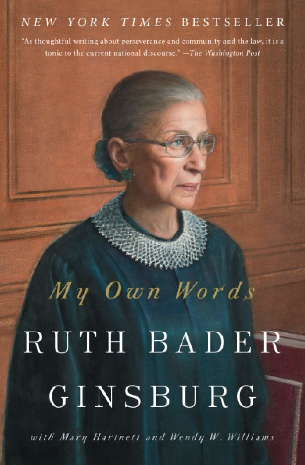 the cover of My Own Words which has a painting of Ruth Bader Ginsburg