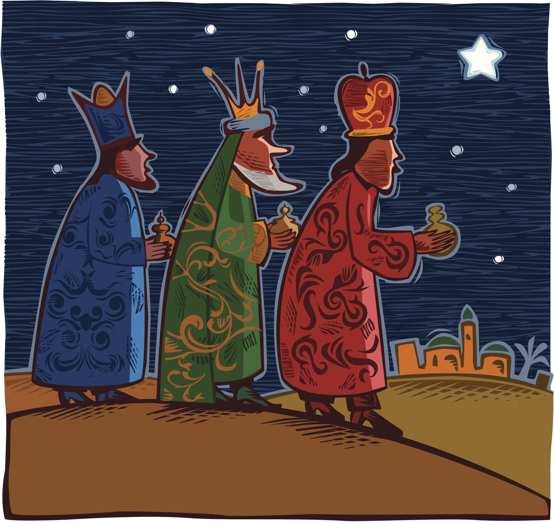 A drawing made to look like a relief of the Three Wise Men