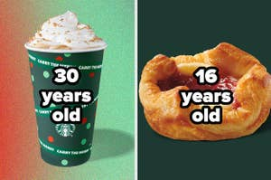 """A peppermint mocha with the text """"30 years old"""" and a sugar plum cheese danish with the text """"16 years old"""""""
