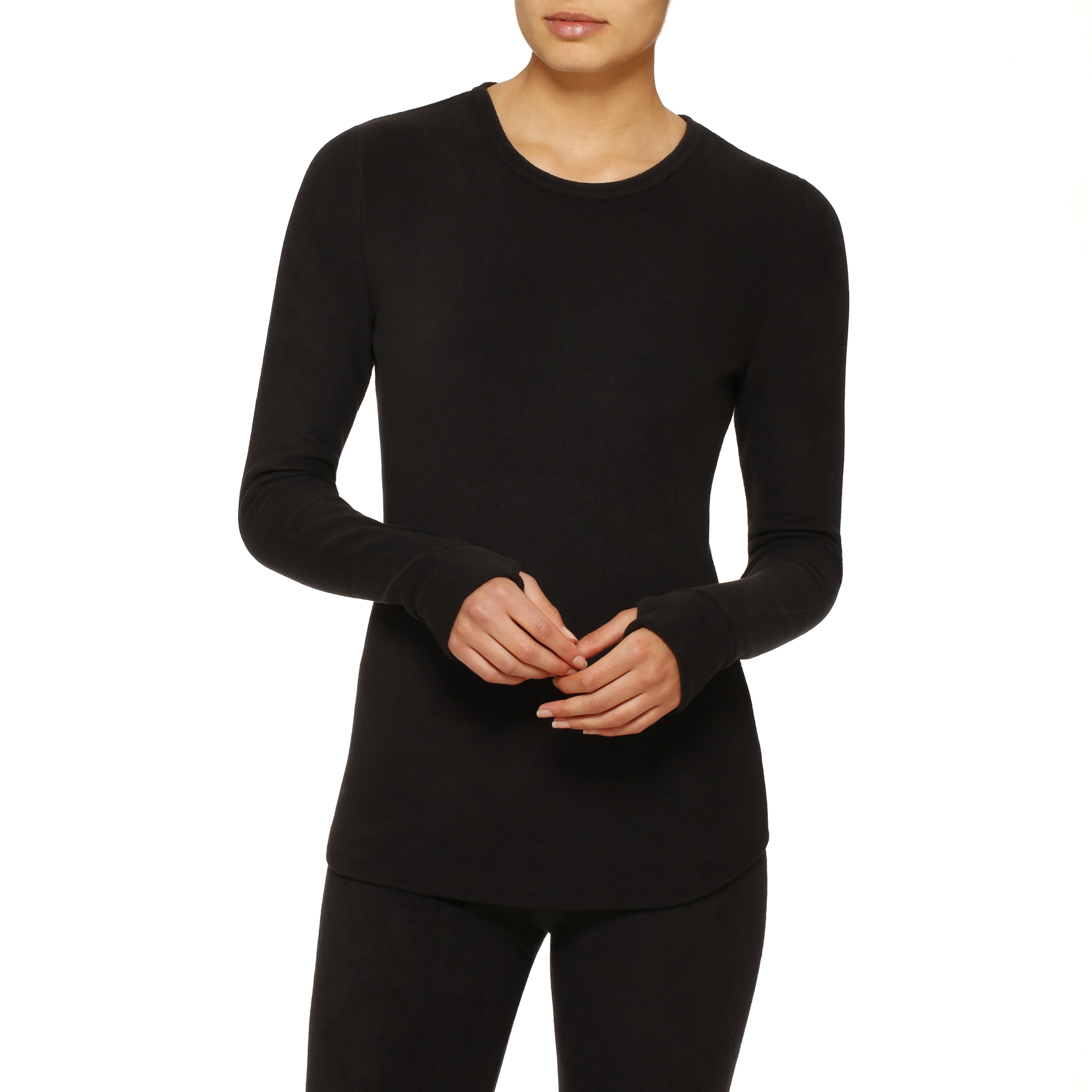 Model in stretch fleece long underwear thermal top