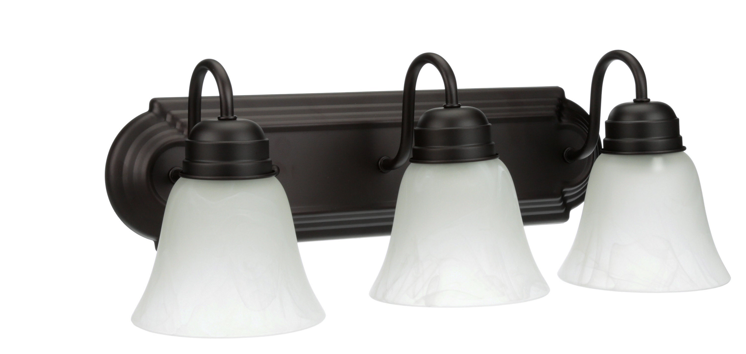The black metal light fixture with three hanging lights