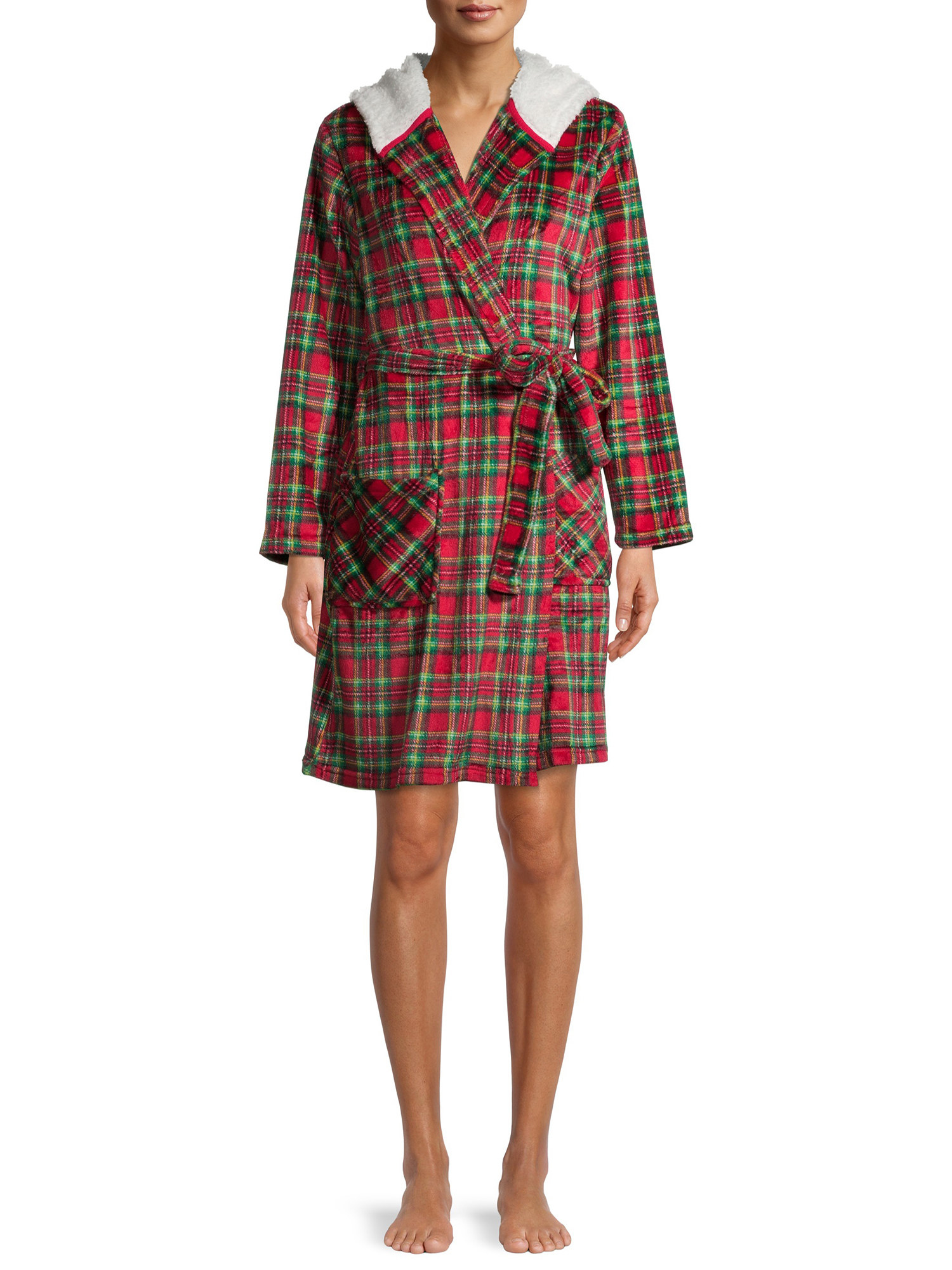 A model wearing the red and green plaid hooded robe