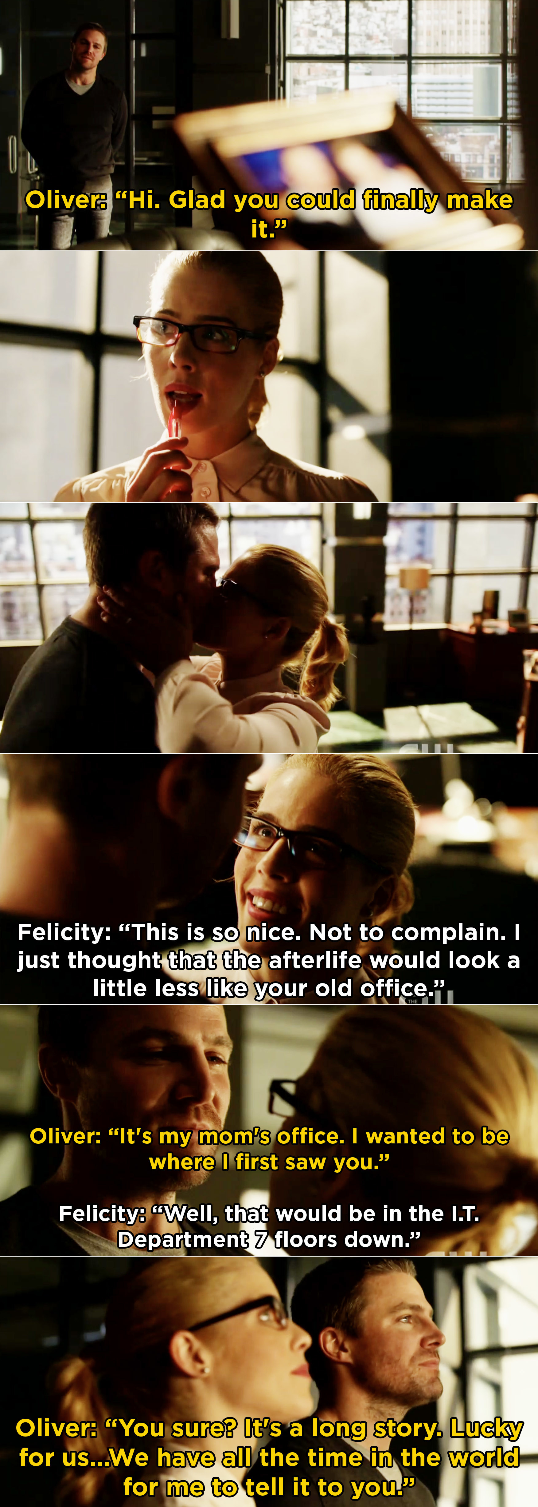 """Oliver and Felicity kissing, then Oliver saying he can't wait to tell Felicity everything because they have """"all the time in the world"""""""
