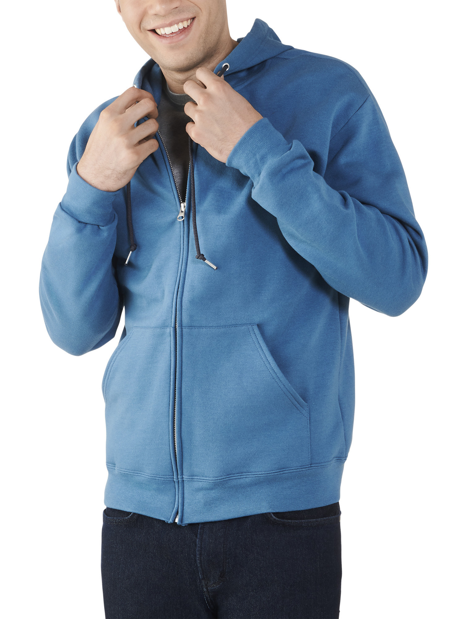 person wearing a blue zip-up hoodie jacket