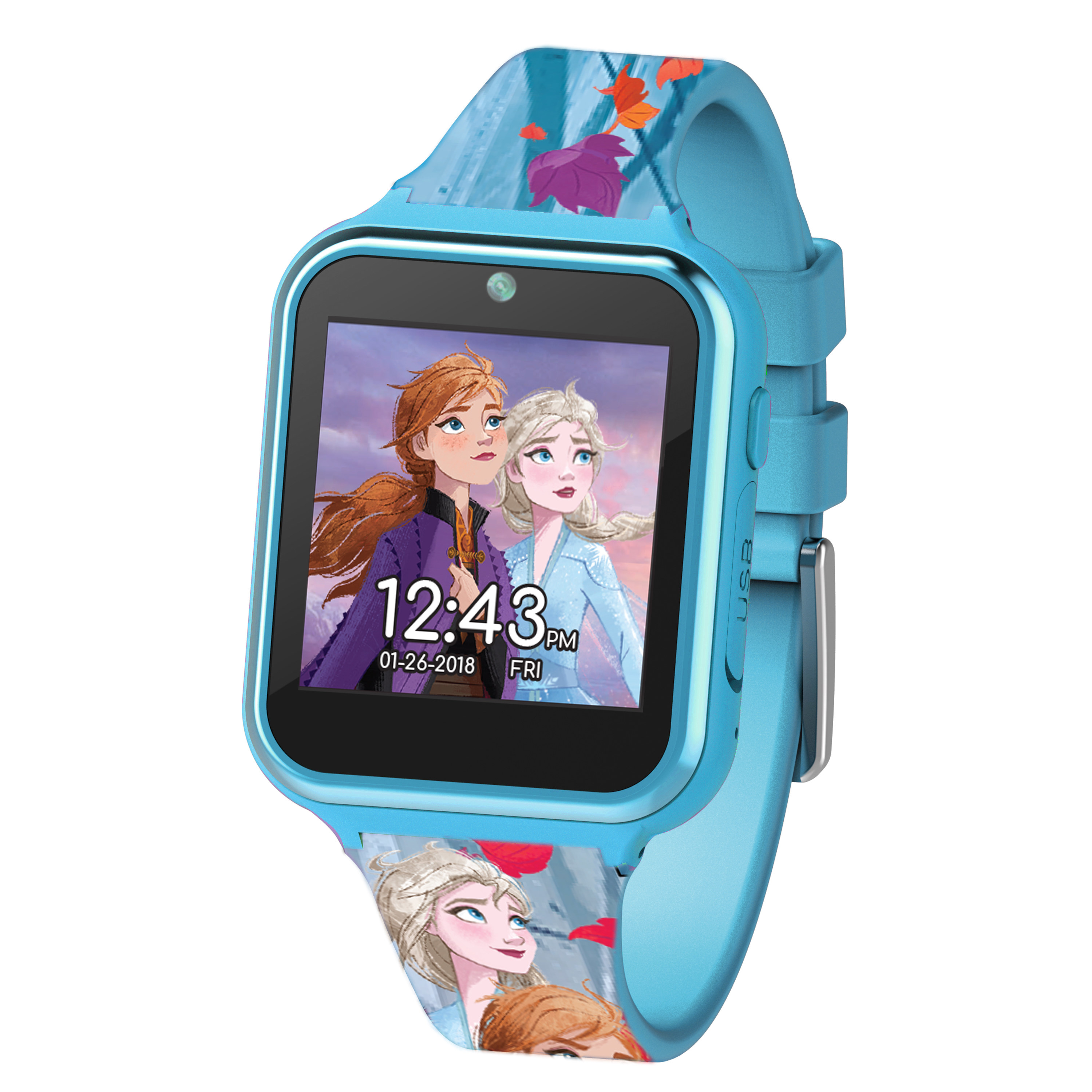 A blue smart watch with the characters Anna and Elsa on the screen and the band