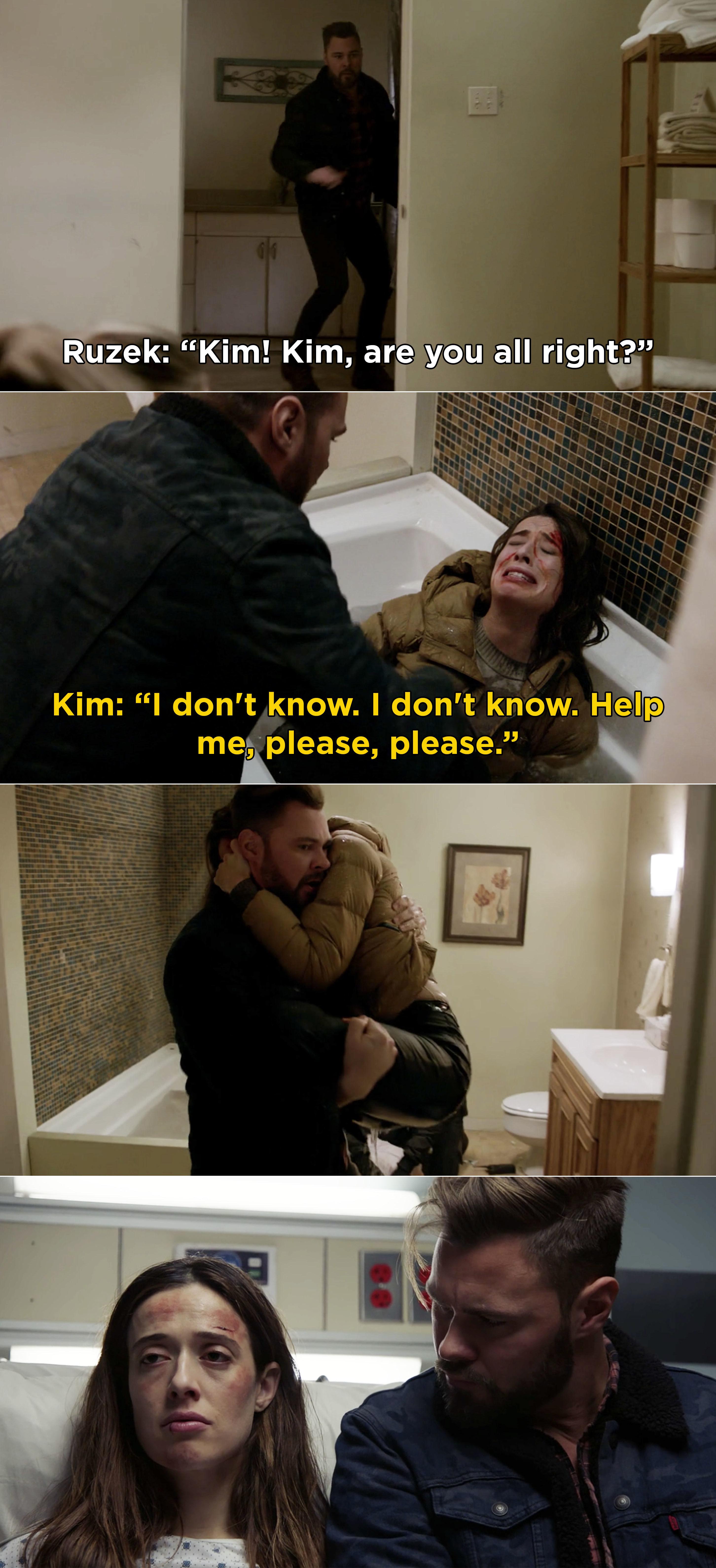 Ruzek picking up Kim while she cries in a bathtub