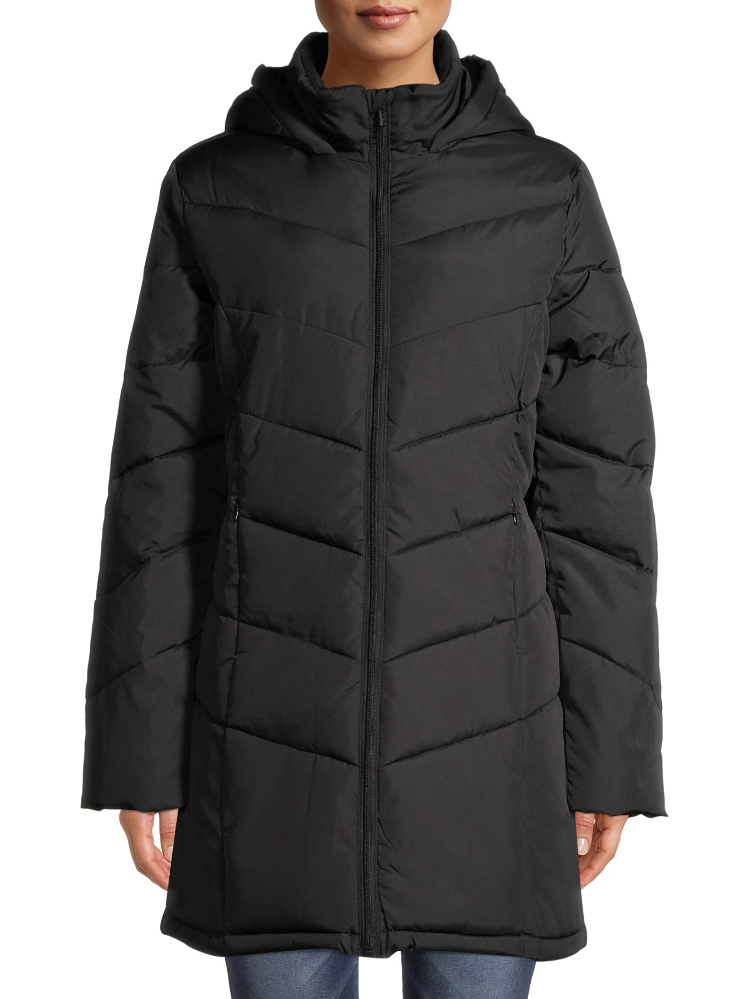 person wearing black puffer coat with jeans
