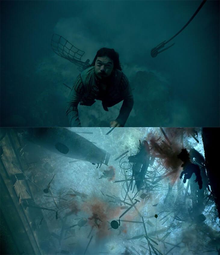 John underwater looking up and seeing bodies and debris