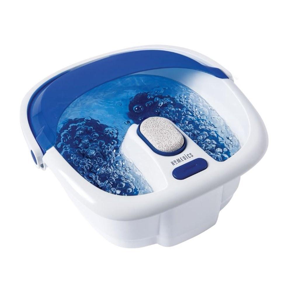 A blue and white foot bath