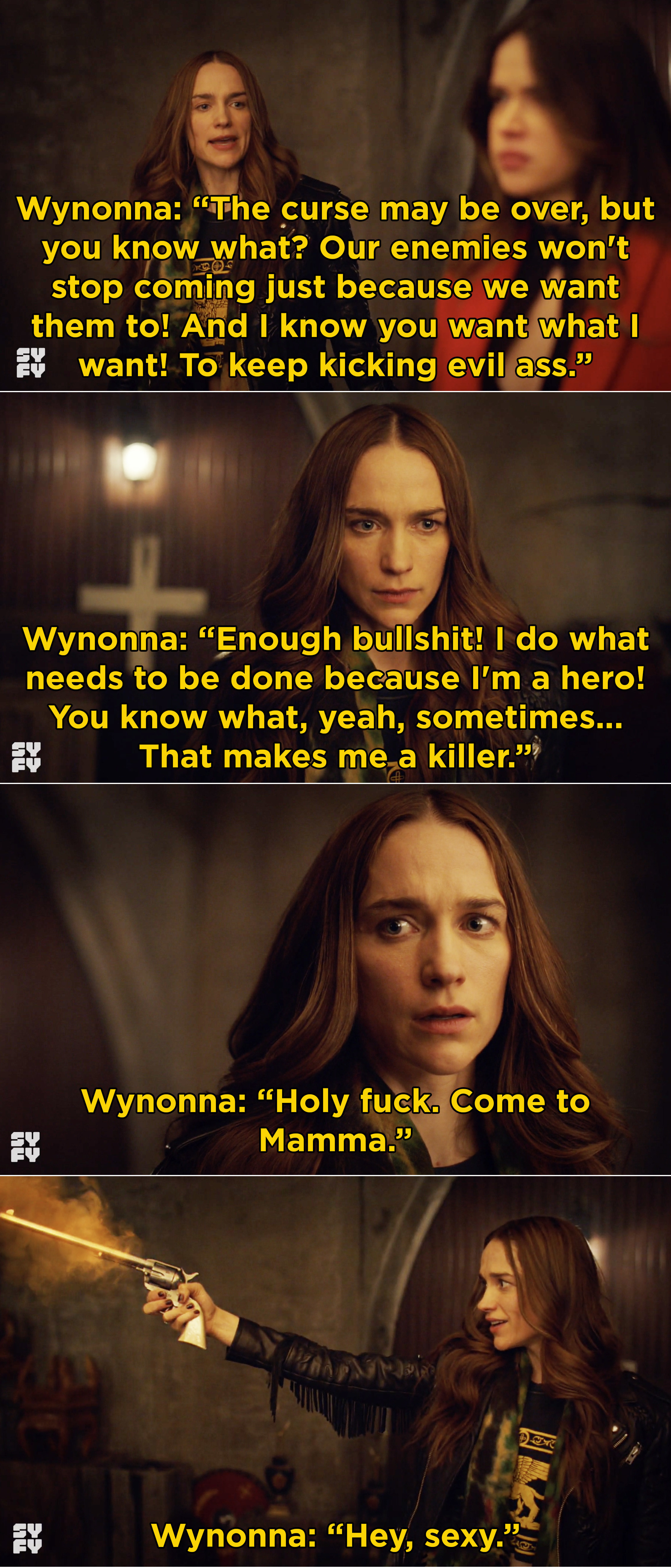 Wynonna saying that she's a hero and then being reunited with Peacemaker