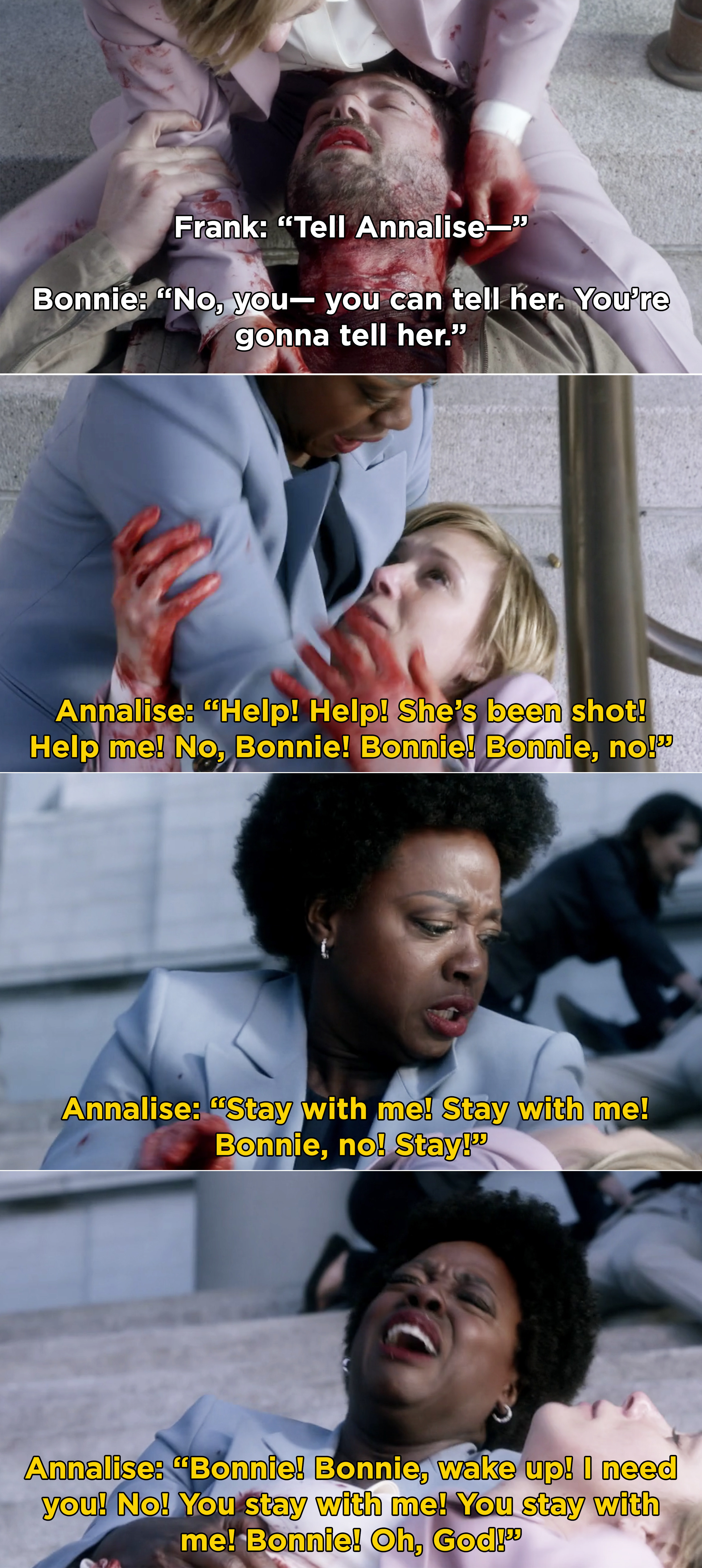 Annalise begging for Bonnie to wake up while she dies in her arms