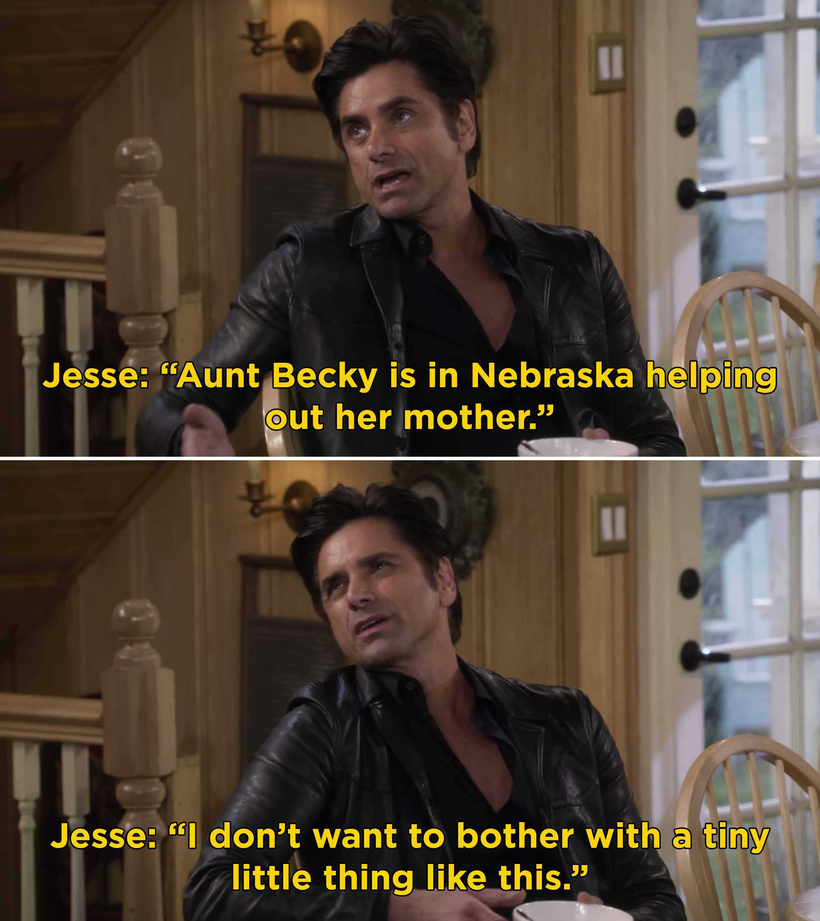 Jesse saying that Becky is in Nebraska helping her mother and he doesn't want to bother her