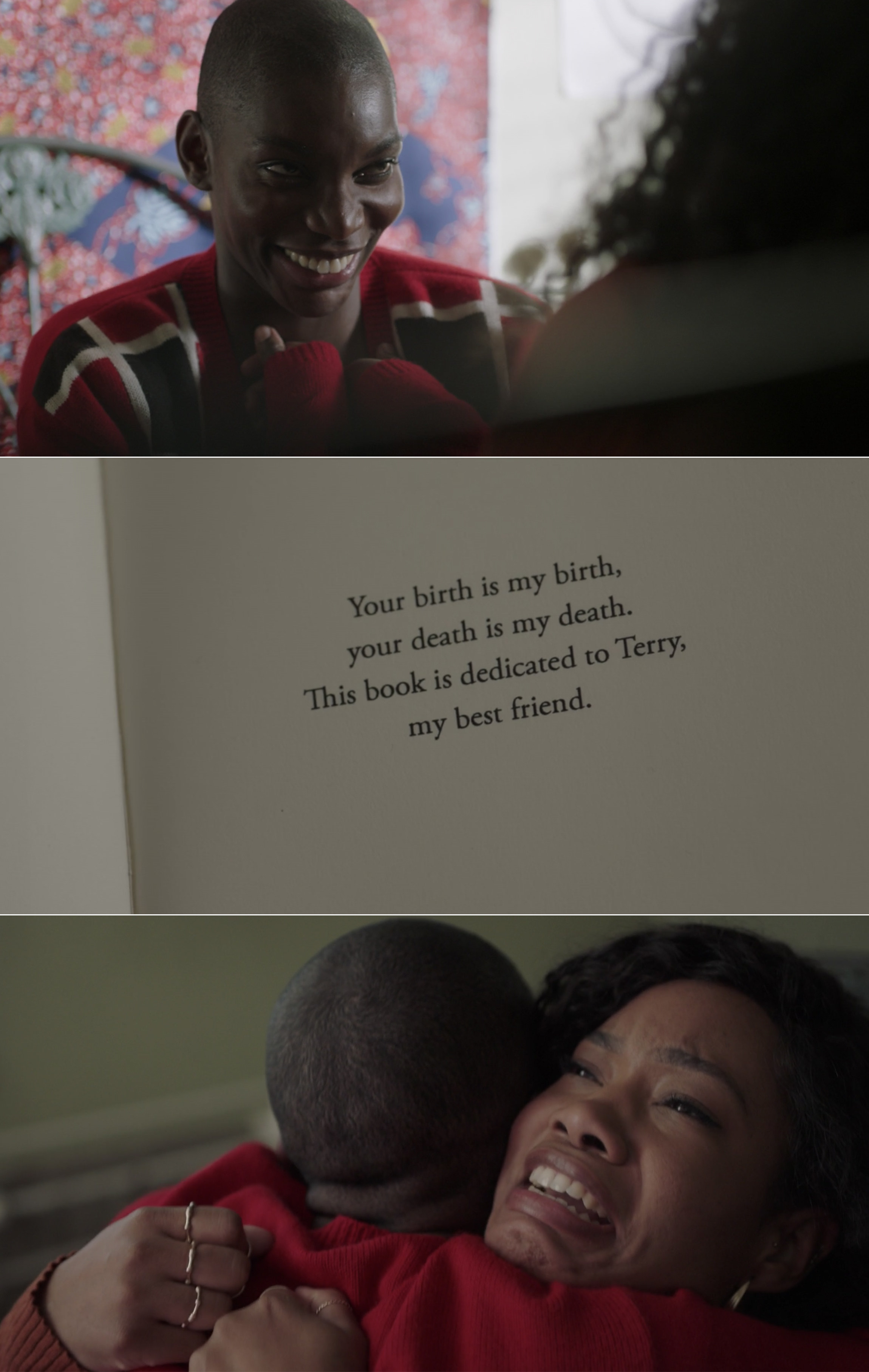 Terry reading the dedication in the book and hugging Arabella
