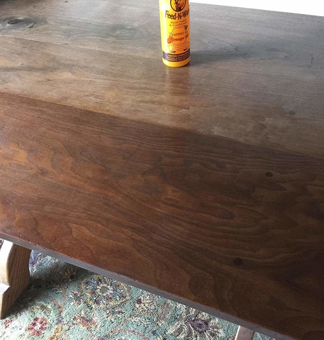 A before and after showing the polish has restored an old scratchy table to its former glory