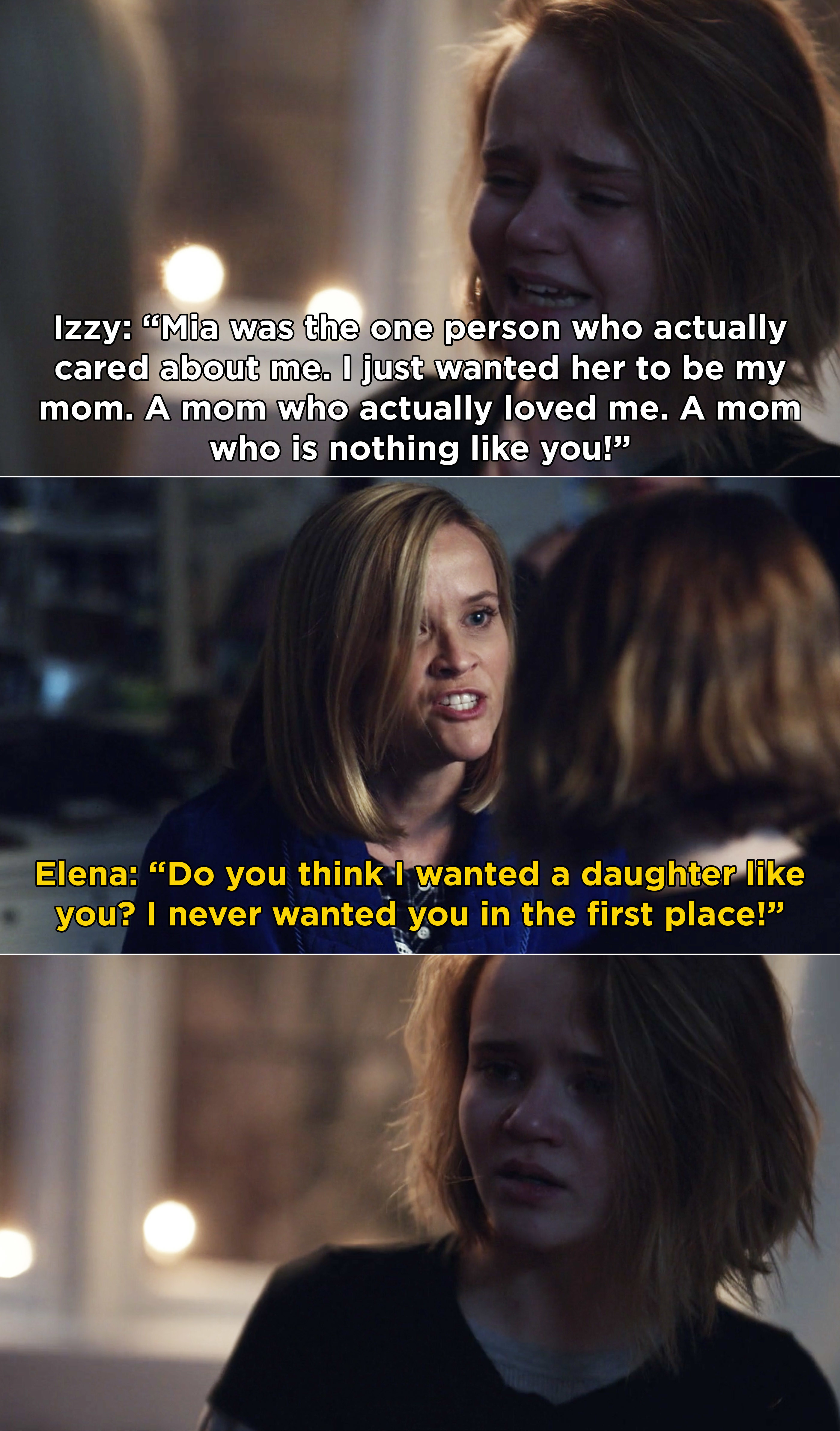 Izzy telling Elena that Mia is the only person who ever understood her