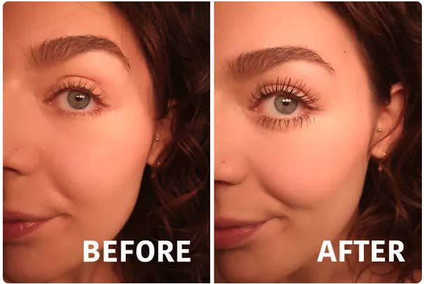 A before and after showing Brittany's lashes look much longer and fuller after using the product