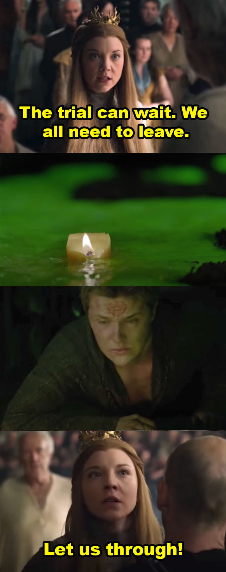 Margaery says they need to leave and yells to be let through as below, a man tries to stop the sept from blowing up