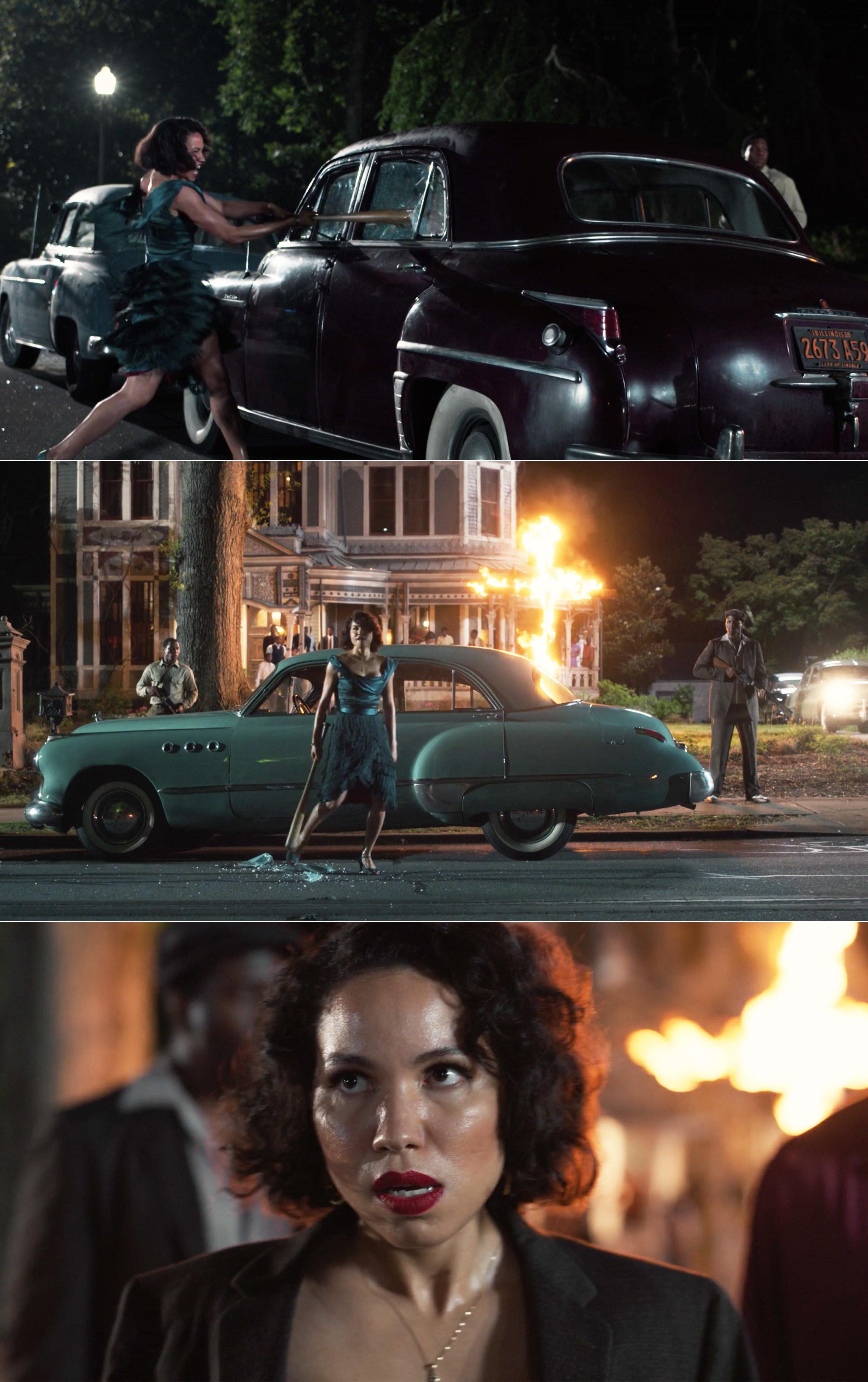 Leti smashing cars with a baseball bat