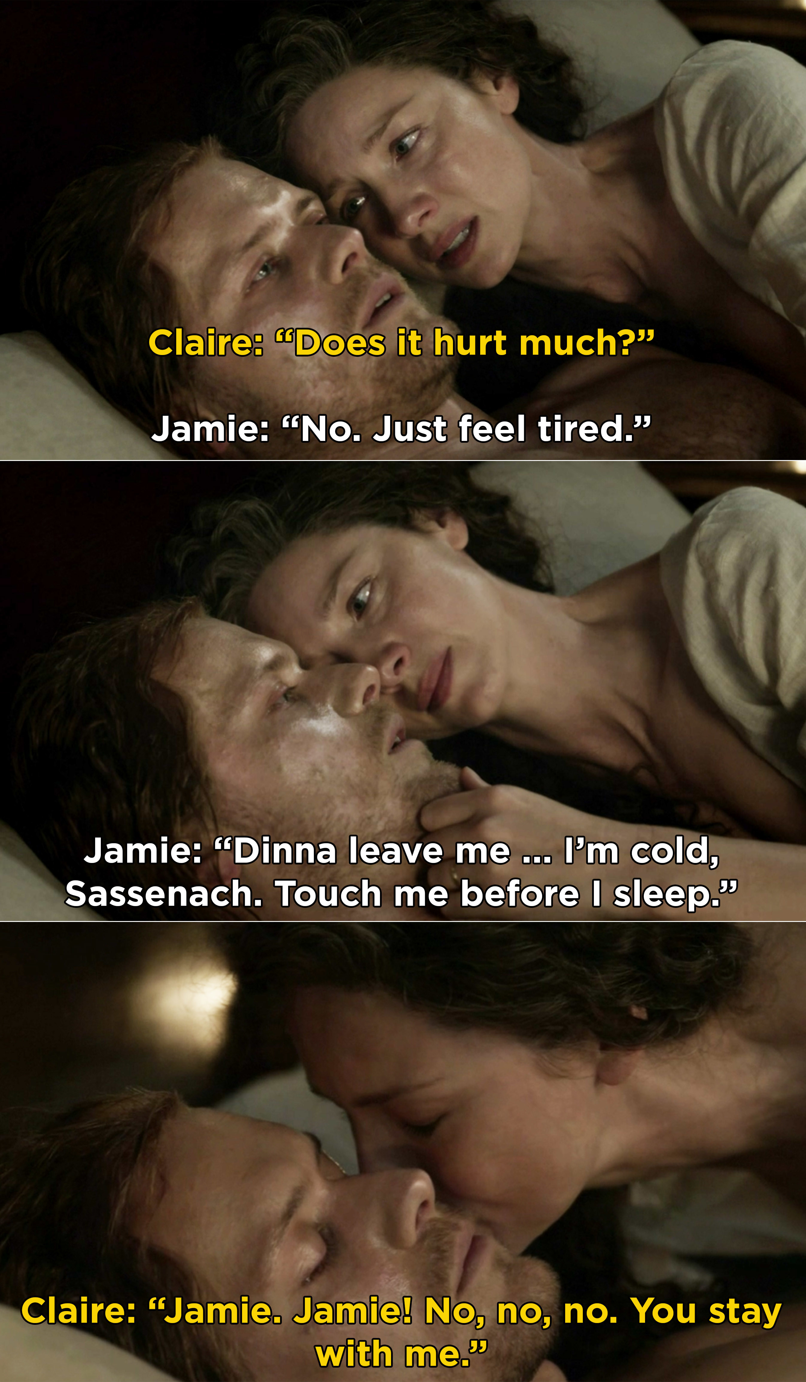 Claire sobbing and telling Jamie to stay with her