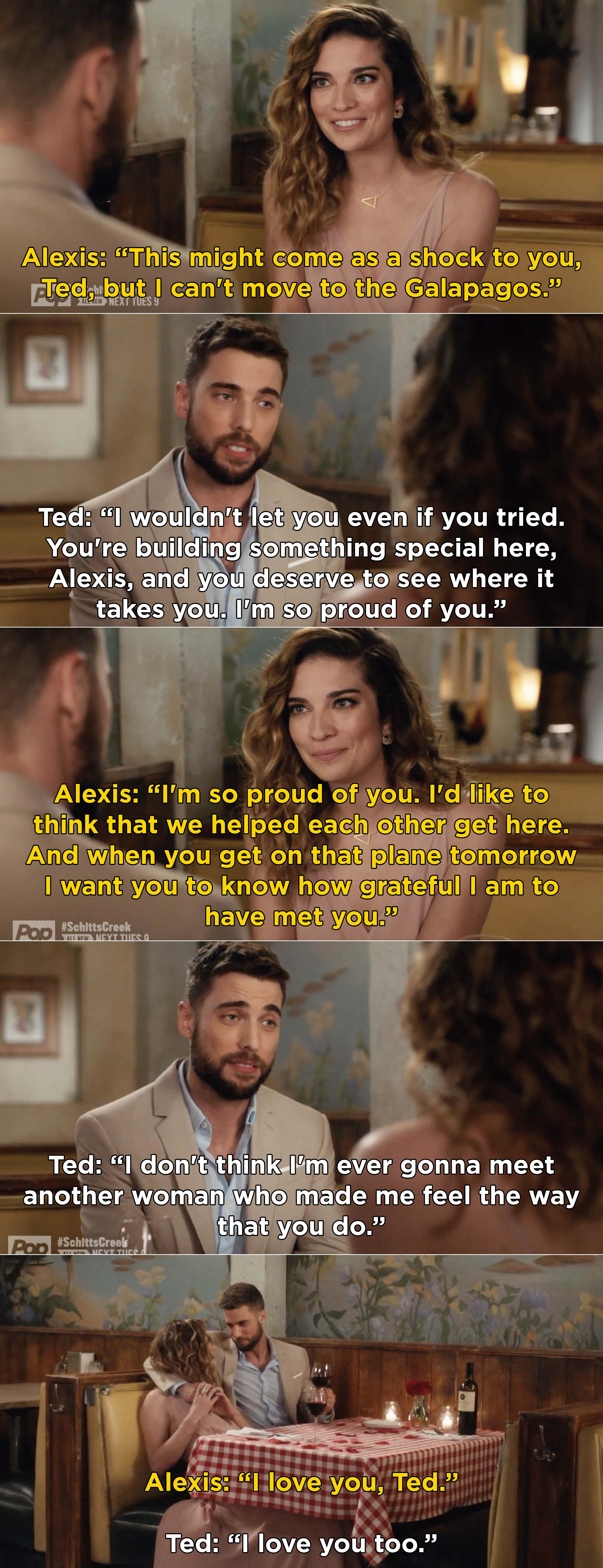 Alexis and Ted saying that they are proud of each other