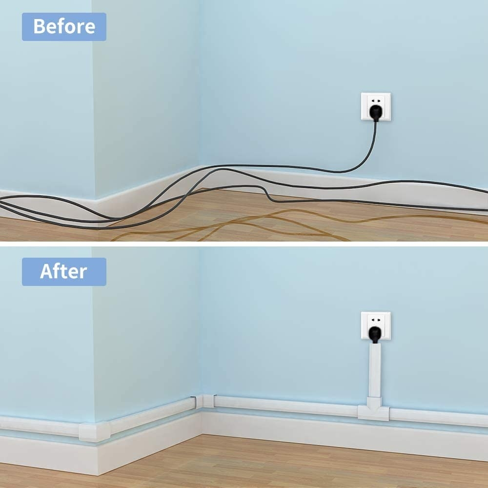 A before and after where the after shows all the cables neatly hidden in the cable concealing tubes