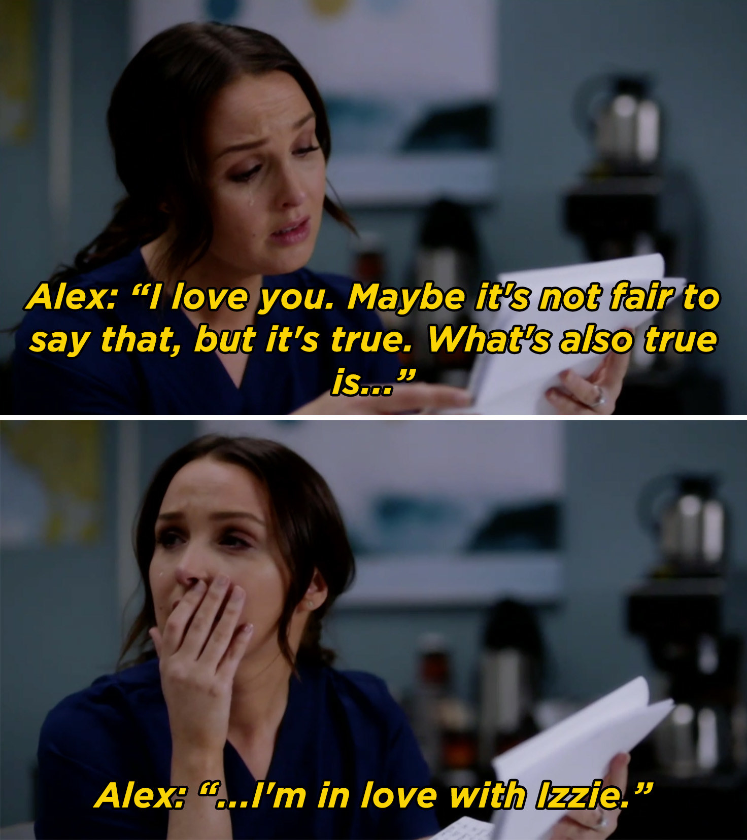 Jo crying while reading Alex's letter