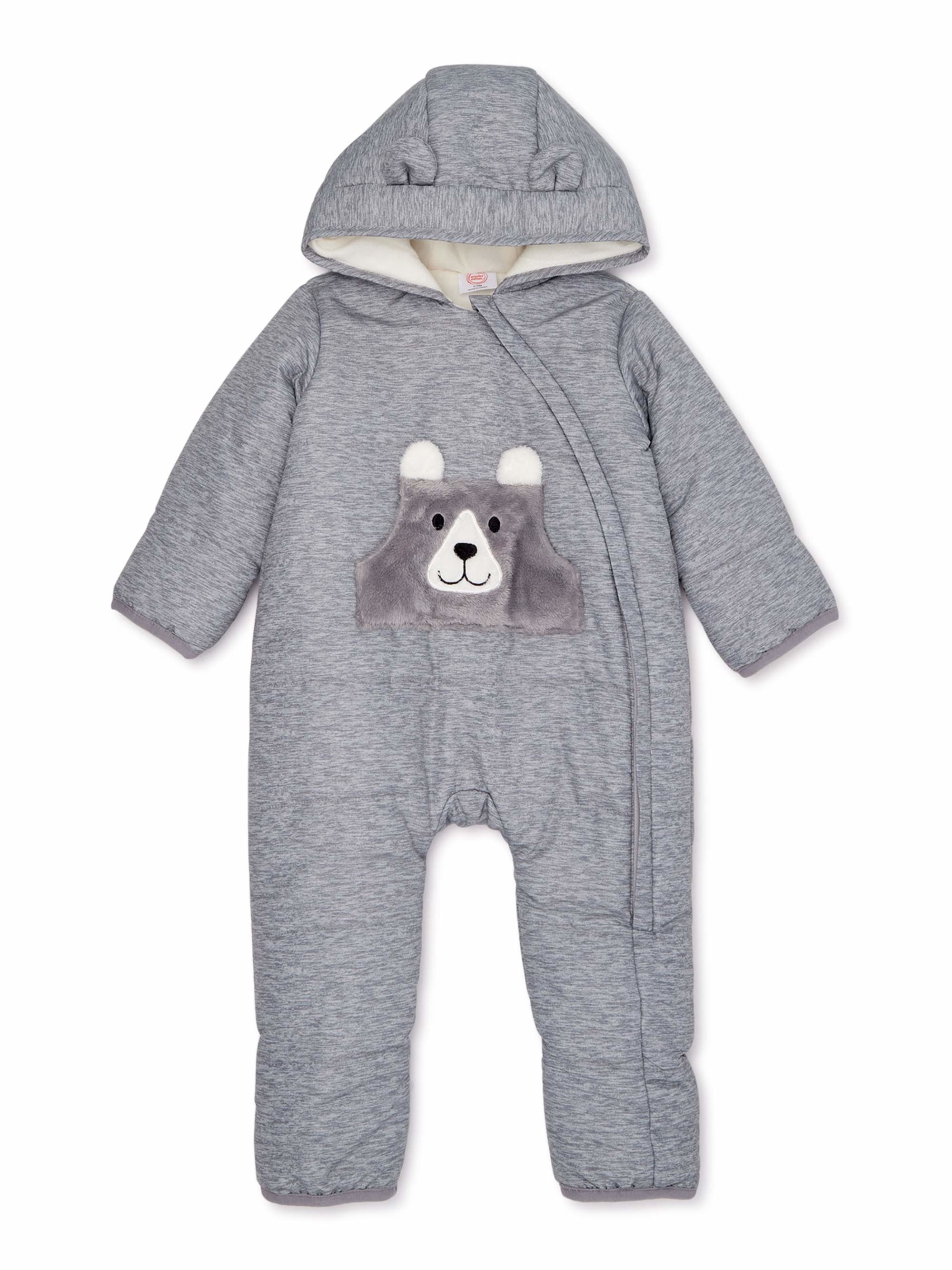gray baby snowsuit with a bear on the front