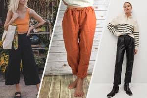A model wearing black culottes; a model wearing rust linen pants; a model wearing black faux-leather pants