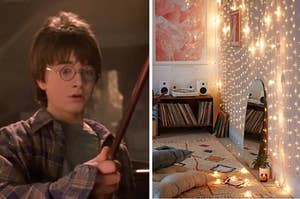 Harry potter on the left holding a wand and a room covered in string lights on the right
