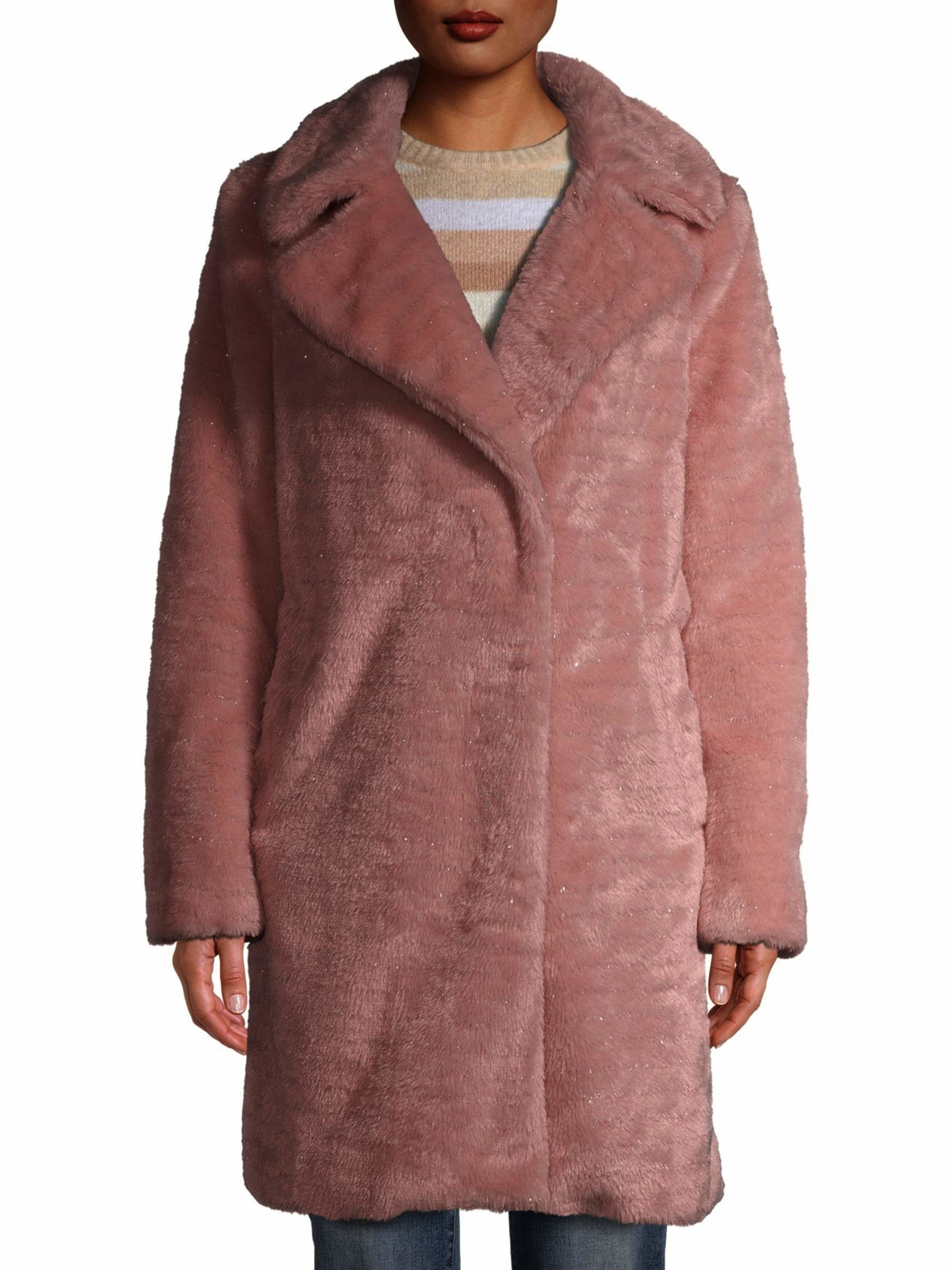 A model wearing the pink coat