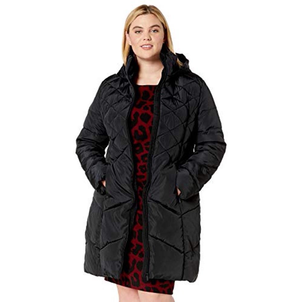 A model wearing the black coat