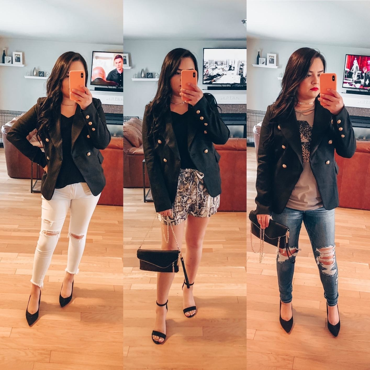 A reviewer styling the black blazer three different ways, with jeans, white jeans, and shorts