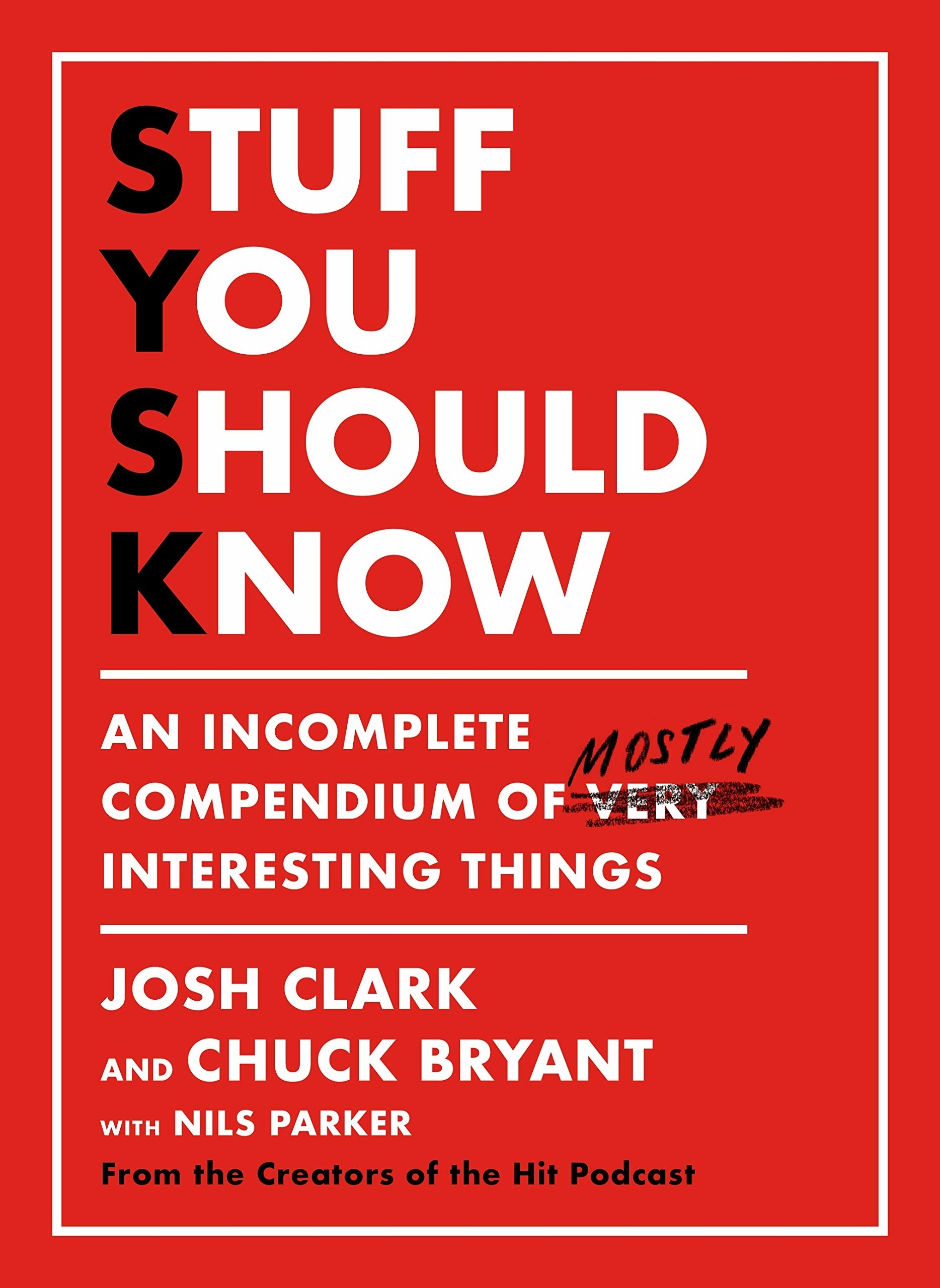 the cover of the book that says stuff you should know, an incomplete compendium of very crossed out, mostly interesting things.