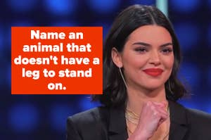 Kendall Jenner on Family Feud with text,