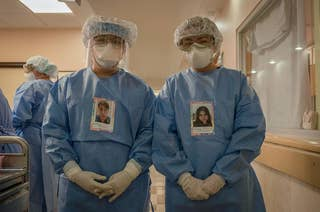 Two doctors wearing PPE