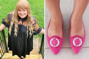 On the left, a reviewer in a sheer paneled dress with embroidery. On the right, pink shoes with jeweled buckles