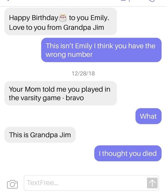 wrong number of someone named grandpa jim