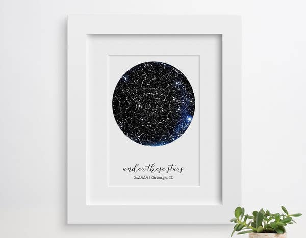 """constellation map with text underneath that reads """"under the stars, with a date, and a location"""""""