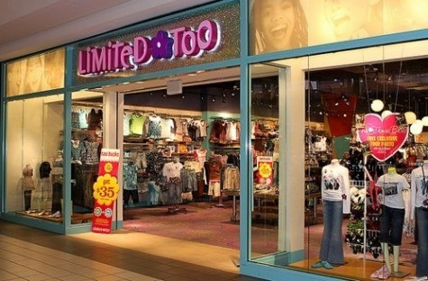 An old Limited Too storefront in a mall
