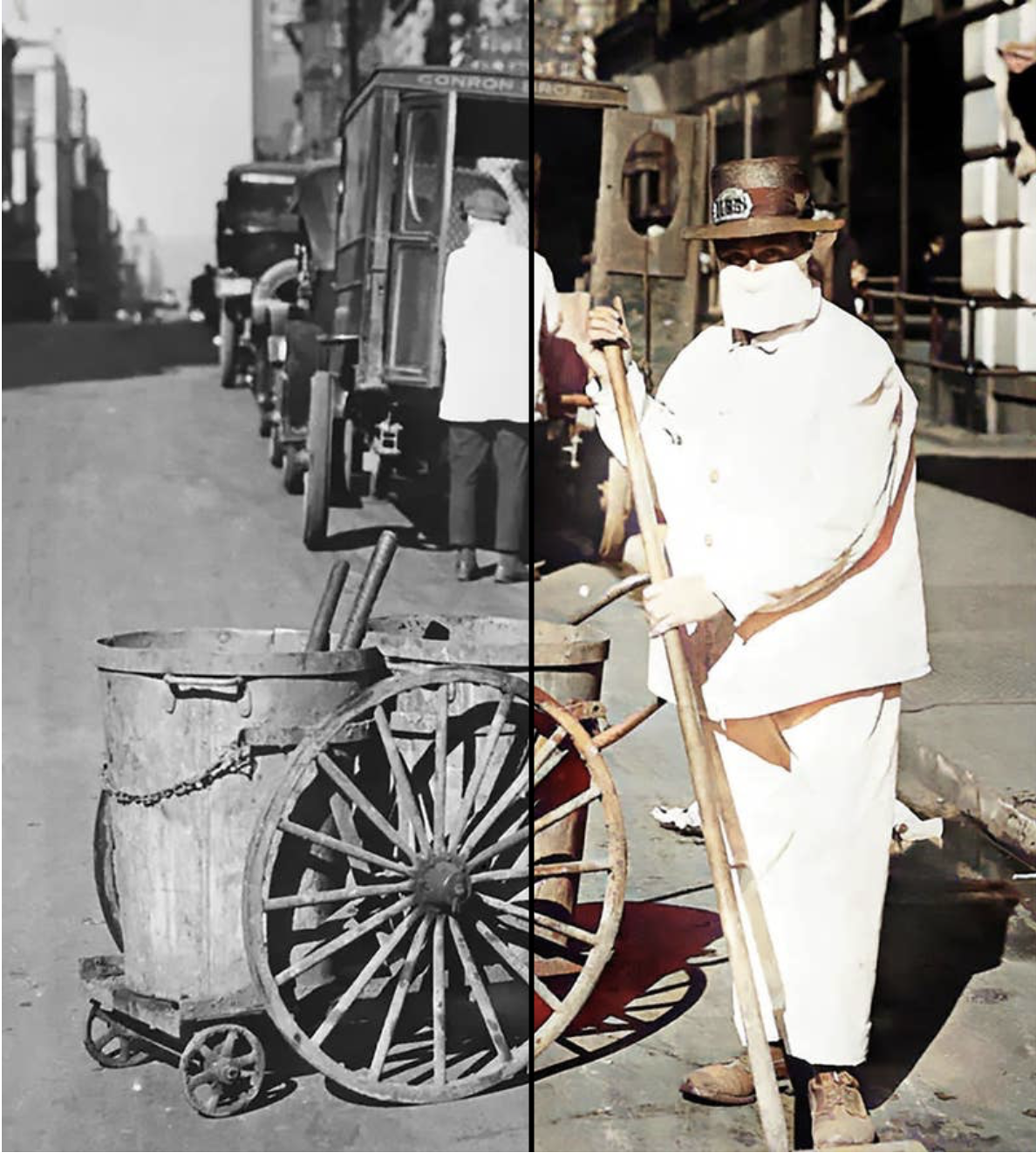 A man in white with two garbage cans on wheels in an old picture