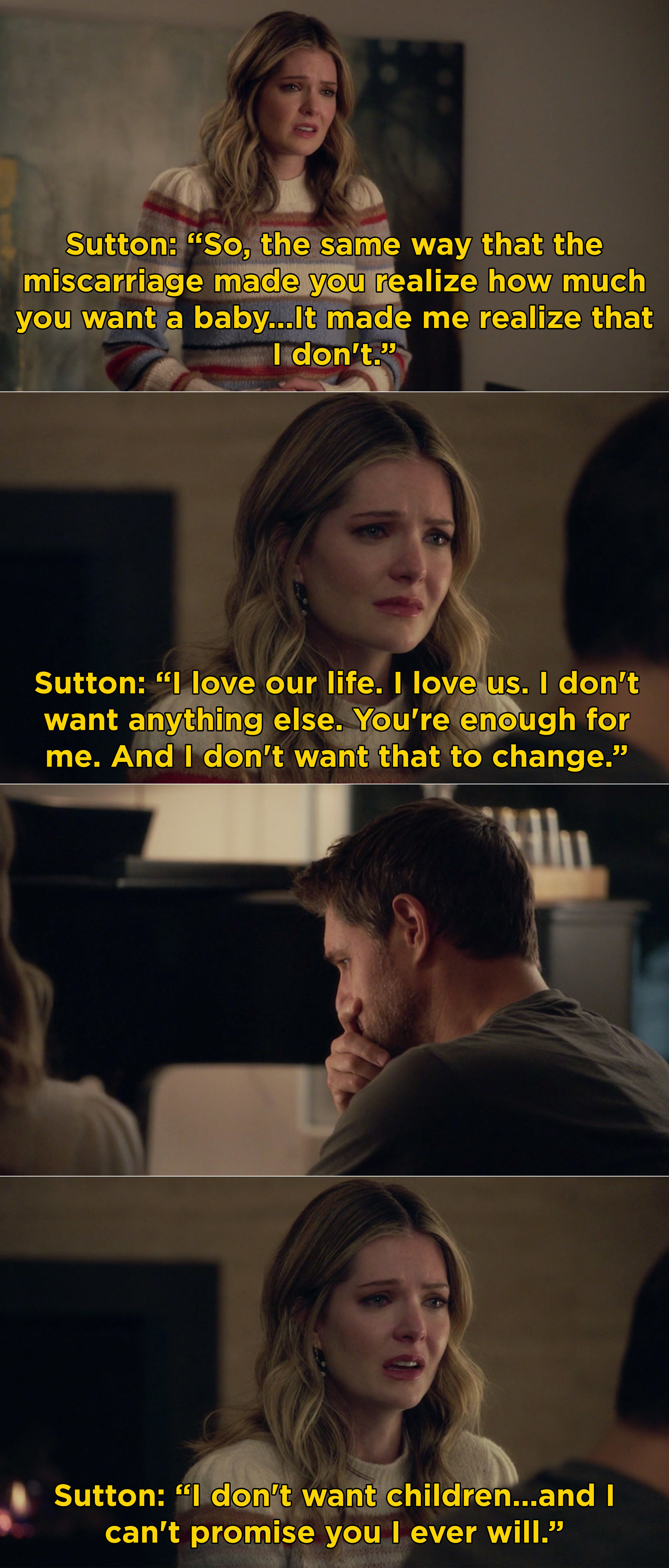 Sutton telling Richard that her miscarriage made her realize that she doesn't want children