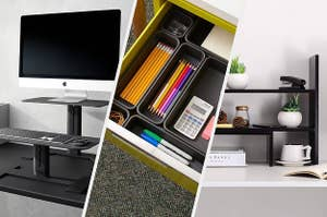 A computer monitor and keyboard on desk stands, A drawer filled with tiny organizing bins, A wooden shelf on a desk with different tiers filled with books and plants
