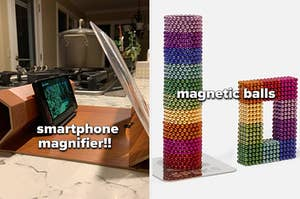 smartphone magnifier next to magnetic balls