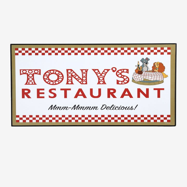 a tony's restaurant sign with lady and the tramp on it