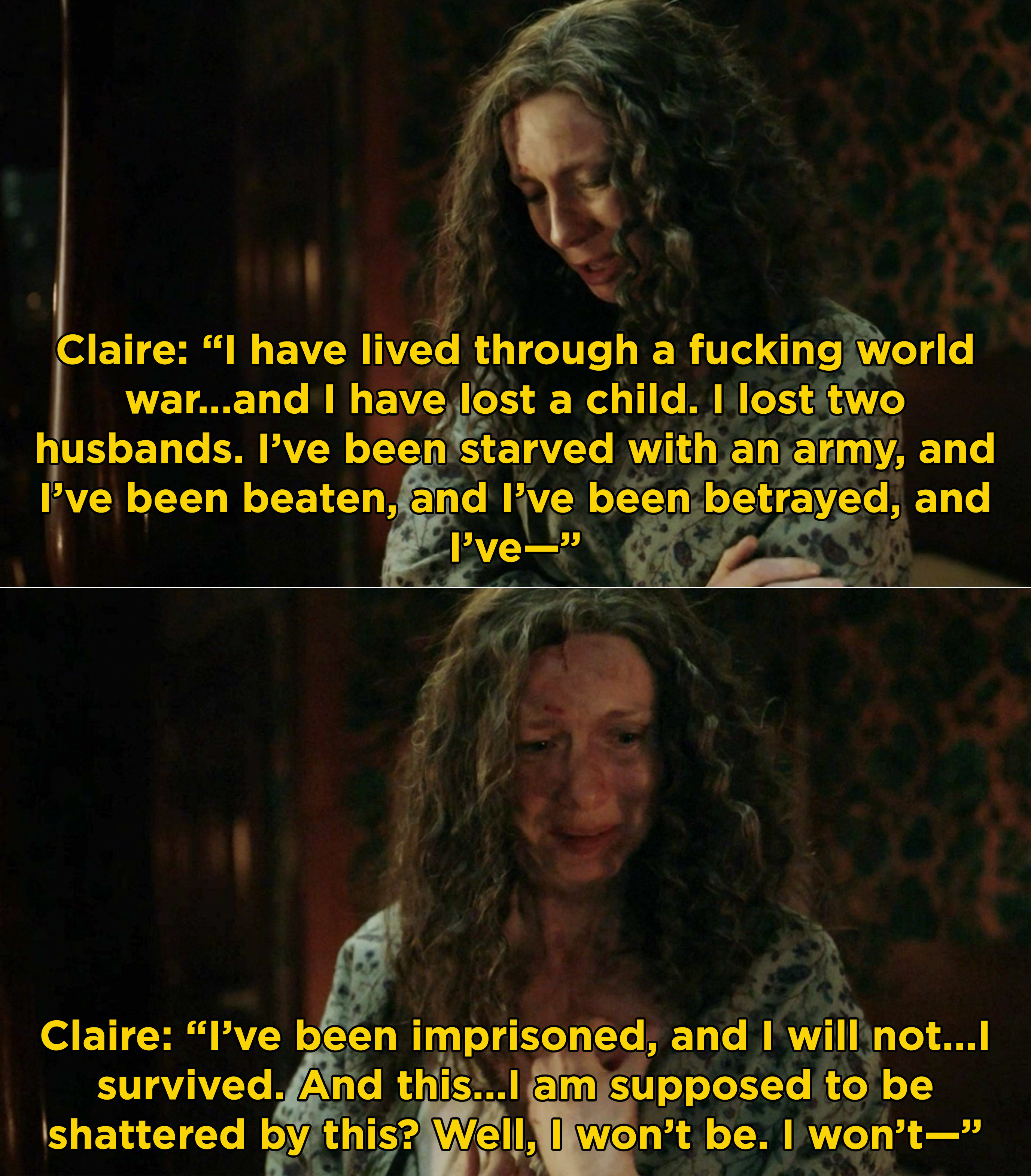 """Claire listing off everything she's been through and saying she won't be """"shattered"""" by this"""