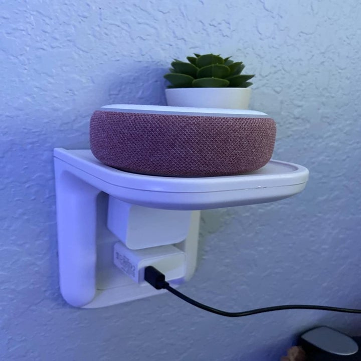 Reviewer using wall shelf to hold plant and electronic device