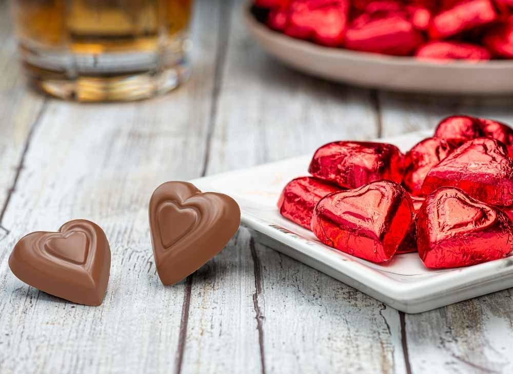 Foil-covered chocolate hearts