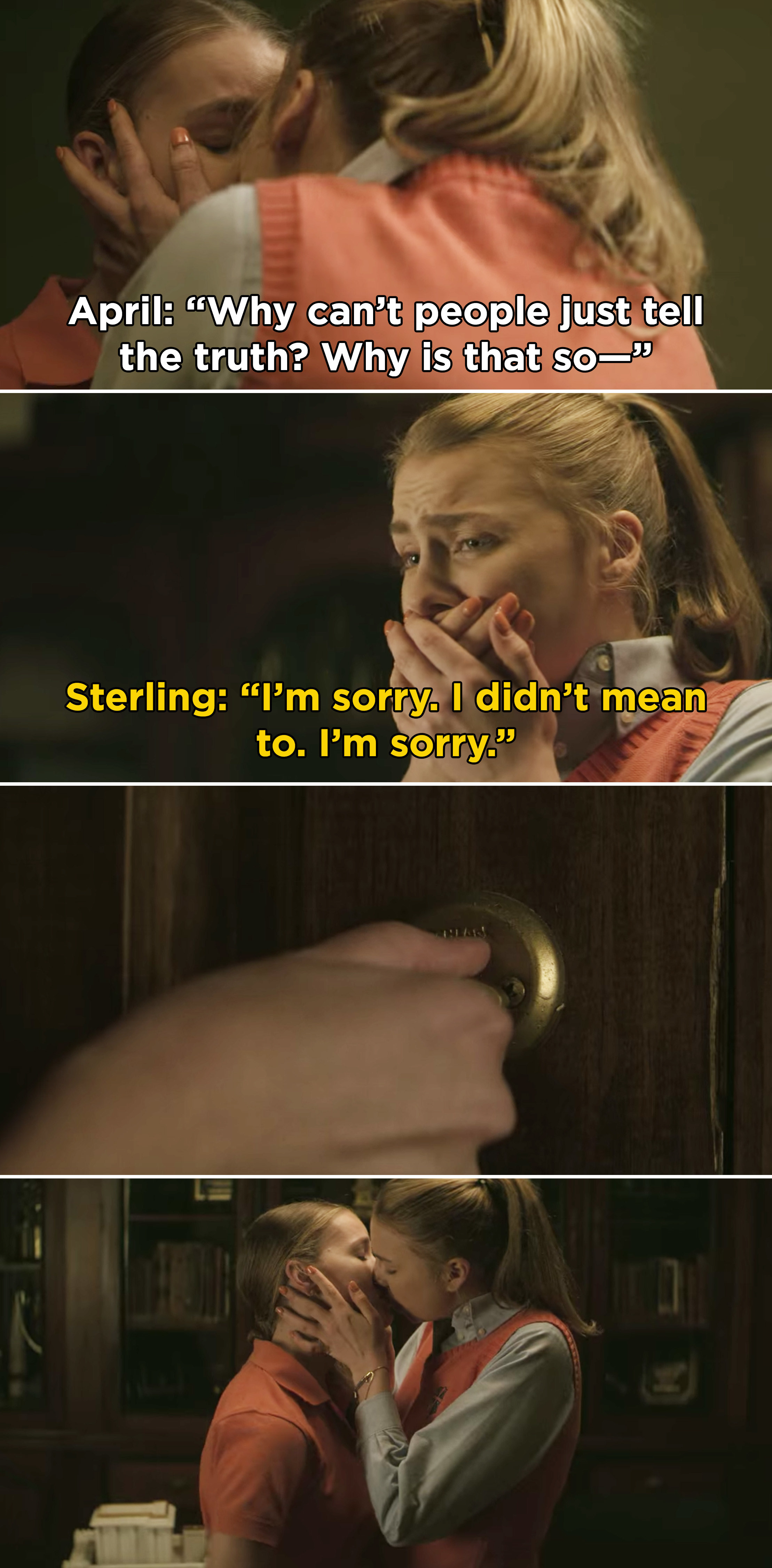 Sterling apologizing for kissing April, but April locks the door and kisses her back